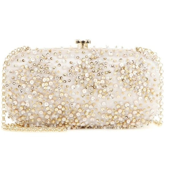 Oscar de la Renta Embellished Satin Box Clutch ($1,465) ❤ liked on Polyvore featuring bags, handbags, clutches, silver, oscar de la renta handbags, satin purse, satin clutches, oscar de la renta purse and pink clutches