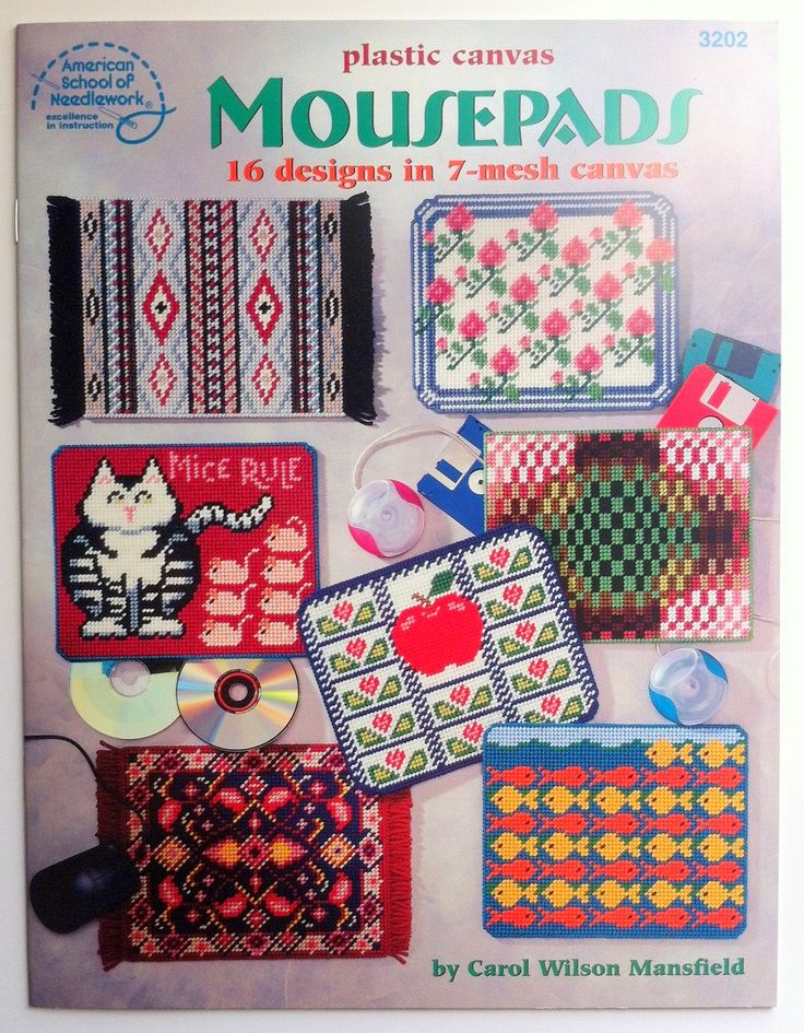 Plastic Canvas Mousepads pattern book by American School of Needlework 3202. 16 designs in 7-mesh canvas.  Booklet includes patterns for Persian Rug, Pad Full of Pansies, Southwestern Rug, Cat and Mouse Game, Buttons and Spools, Muscle Mouse, E-Wizard, Garden of Roses, Mountain Hideaway, Goldfish & Gigabytes, Wake Up!, Fiber Optics, Internet Shopper, Lace illusion, Lots of Leaves, and Power Apple Mousepads. $3.00