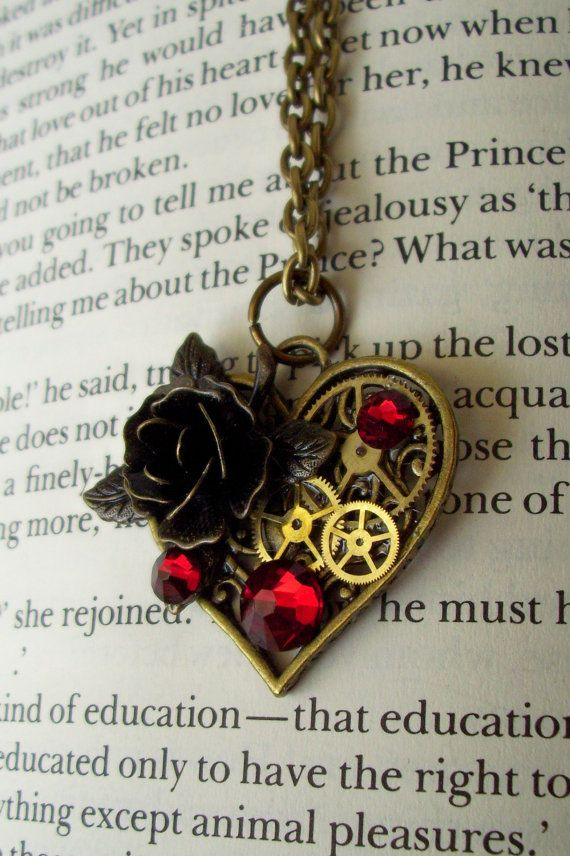 Steampunk Heart Necklace (N167) - Victorian Brass Heart Pendant on Chain - Gears and Brass Rose - Swarovski Crystals