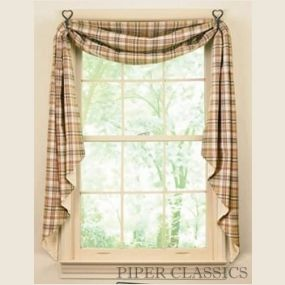 """TheThymeFishtail Swag by Park Designs is an attractivesolution for both single and double windows. Fully lined, they add a custom look at a great price. This charming homespun fabric creates afresh spring -Thyme feeling with this light and airycountry plaidpattern. Moss green, burgundy red and beige; perfect for decorating your country home. 100% cotton. Size: 145"""" longx 25"""" wide."""