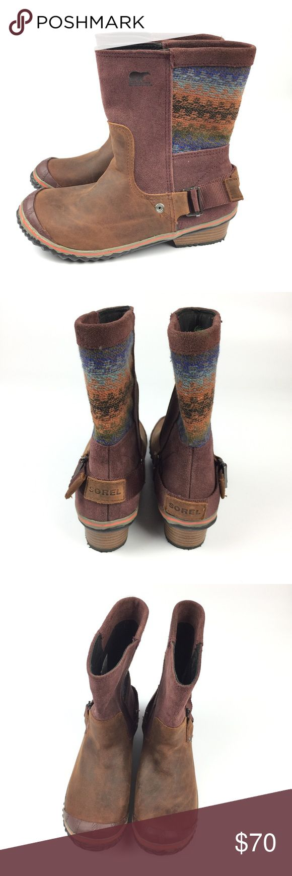 Sorel Slimshortie Maroon Woven Stripe Boots // 8 New without box. A few scuffs from storage. Size 8. Sorel Shoes Winter & Rain Boots