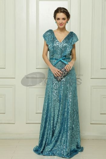Dresses in Stock-Green evening dress fell to the ground Malay Satin Sequin