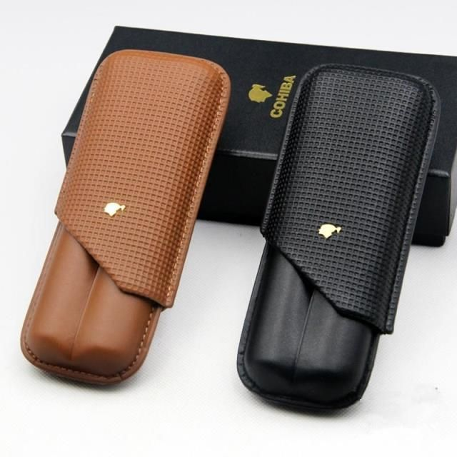 COHIBA Cigar Case 2 Tubes Mini Humidor with  Gift Box   Striking yet simple light brown or black  leather travel case from Cohiba cigars. Capacity: 2 cigars, Ga