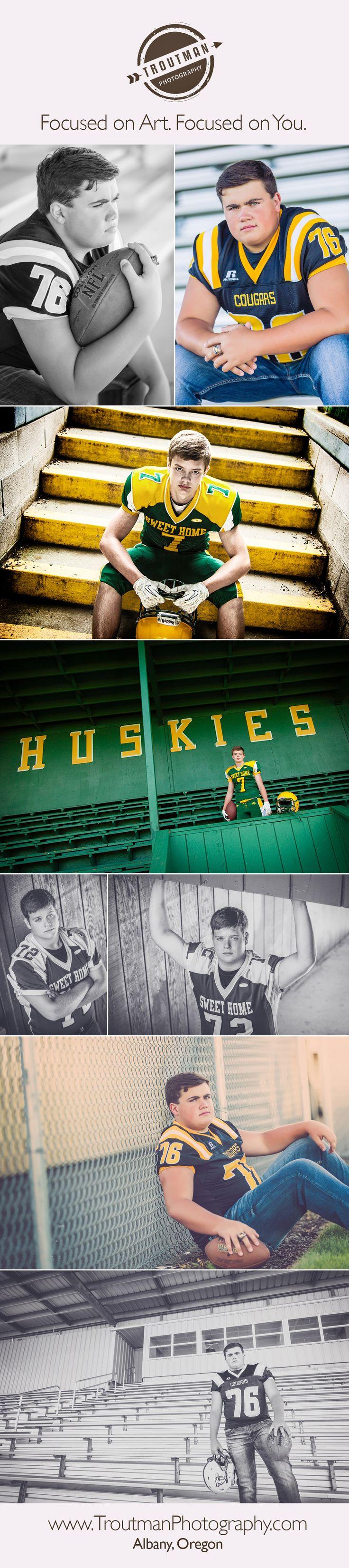 Football senior pictures for Salem Oregon senior portraits.  Troutman Photography | Albany Oregon