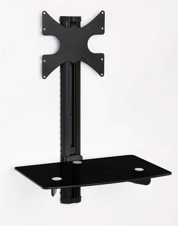 "TV Wall Mount with Shelf, Fits Monitors 10"" to 32"", Stationary Bracket - Black"