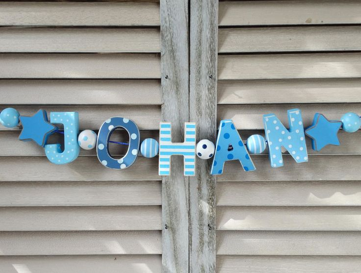 """JOHAN"" WOODEN WALL DOOR LETTERS BABY NAME SHOWER NURSERY DECOR SHABBY CHIC  #NostalgieSpiel"