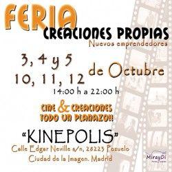 FERIA CREACIONES PROPIAS 10, 11 Y 11 OCTUBRE EN KINEPOLIS POZUELO ^_^ http://www.pintalabios.info/es/eventos_moda/view/es/1825 #ESP #Evento #Ferias