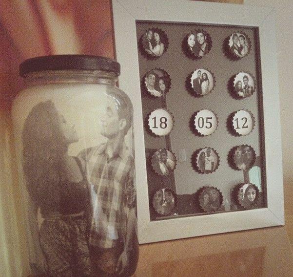 Porta-retratos com tampinhas de garrafa                                                                                                                                                     Mais