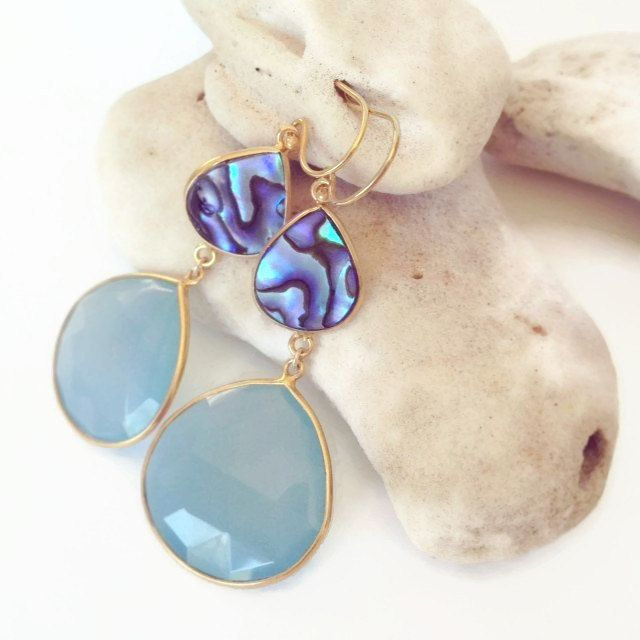 Abalone and Chalcedony Stone Earrings, Beach Jewelry, Resort Fashion by Aina Kai
