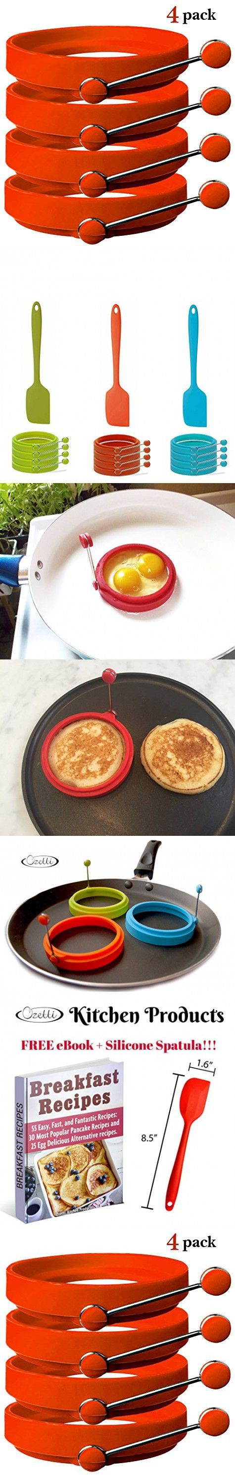 Silicone Egg Rings by Ozetti - Free Spatula and Recipes Included - Professional Non-Stick BPA-Free Silicone - Best Egg Cooking Rings and Pancake Molds - Set of 4 Egg Rings - RED