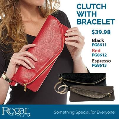 """CLUTCH WITH BRACELET  Perfect for anytime you would like your hands free. Zipper closure keeps content safely in place while the purse hangs from your arm with the stylish removable gold bangle (2-3/4""""Diam.) Inside is a zippered pocket and credit card slots. Made of super soft faux leather. 11-1/2""""L x 5""""H"""