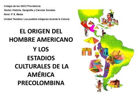 EL ORIGEN DEL HOMBRE AMERICANO Y LOS ESTADIOS CULTURALES DE LA AMÉRICA PRECOLOMBINA Colegio de los SSCC Providencia Sector: Historia, Geografía y Ciencias.