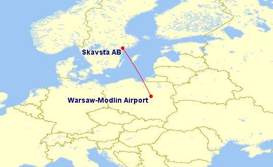 trasa lotu Warszawa Modlin - Sztokholm Skavsta