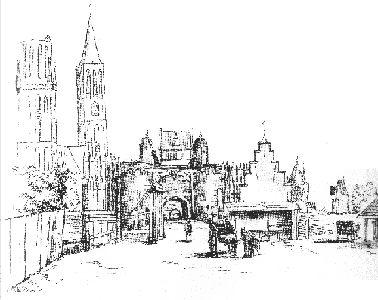 Tekening van Gerard Ter Borch van de stad Zwolle aan de zijde van de Kamperpoort