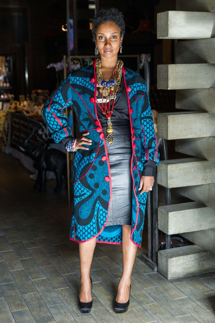 Senait wearing Guidemore Chigama necklaces and Thabo Makhetha Basotho coat || InspiredLuxe.com - Handcrafted Luxuries from Around the Globe - #shoglocal #inspiredluxe #culturedstyle #worldstyle #globalstyle #fashion #sanfrancisco #launchevent #onlineshopping #african #basotho #jewelry #handmade #handcrafted #artisan #fairtrade #ethicalfashion #socialenterprise #artisanmade #coat #necklace #beaded #basotho #traditional #tribal #ethnic #denisebradleytyson