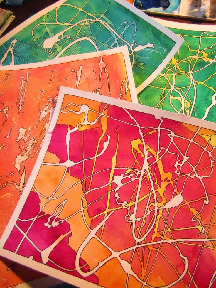 Drawing near: Painted Papers: Rubber Cement Resist