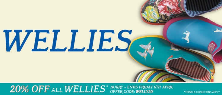Joules Discount Code: 20% off all wellies until midnight Friday April 6th 2012