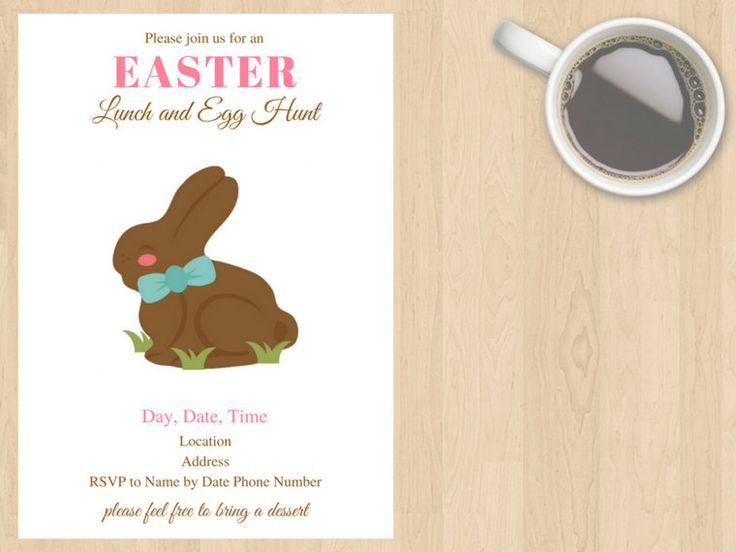 Digital Download Simple White, Pink, Brown Easter Invitation, Lunch, Get Together, Party, Dinner, Egg Hunt, Easter Bunny, Chocolate, Cute by DesignsByMoniqueAU on Etsy