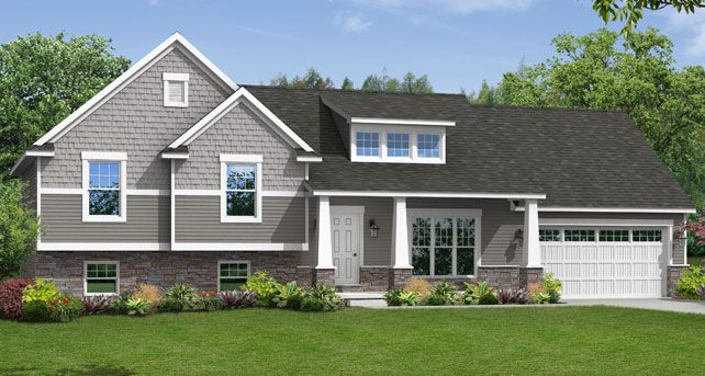 porch, interesting overhang Custom Home Floor Plans: The Brighton Split-Level | Wayne Homes