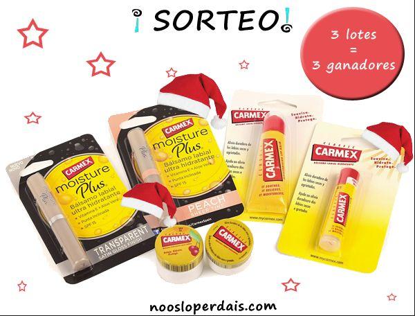 Sorteo Navideño 3 lotes productos Carmex, para participar seguir los pasos desde aqui http://noosloperdais.com/2014/12/10/sorteo-3-lotes-productos-protectores-labiales-de-carmex-spain/