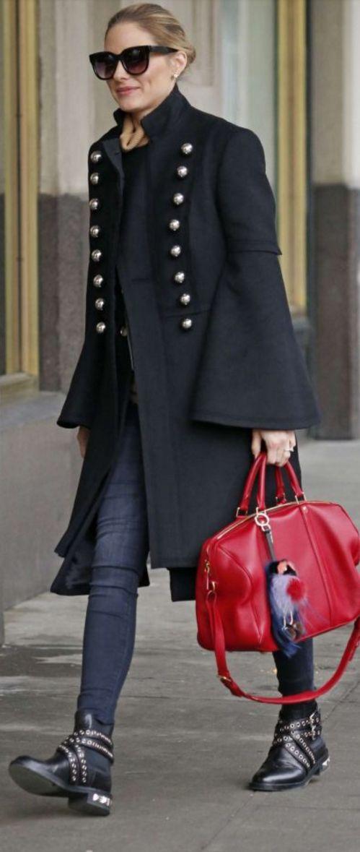 Olivia Palermo: Coat – Burberry Sunglasses – Perverse Purse – Louis Vuitton Key Chain – Fendi