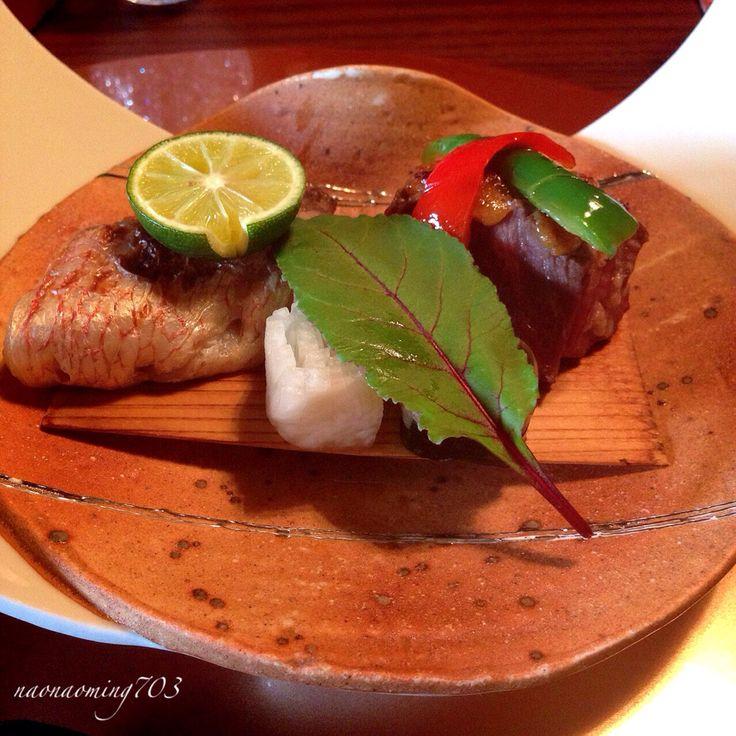 焼き物 甘鯛の若狭焼き 牛フィレ肉のねぎ味噌焼き 三瀧荘