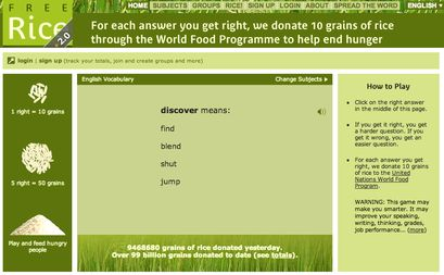 free rice game - helps students build up their vocabulary as well as actually donate grains of rice for countries experiencing poverty