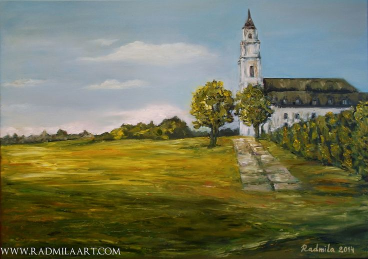 Oil painting with the Basilica of the Assumption in Aglona, 50*70 cm. Artist - Radmila Filimonova