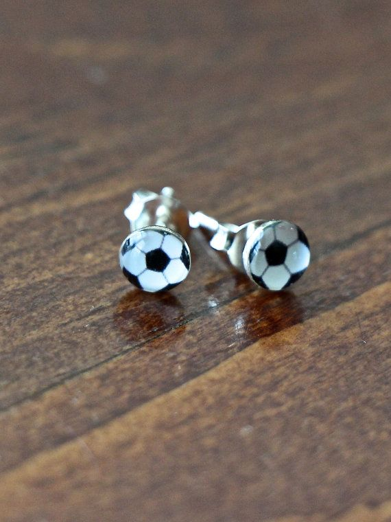 Sterling silver soccer ball stud earrings make a great soccer jewelry gift for your little soccer star to express her love for her favorite