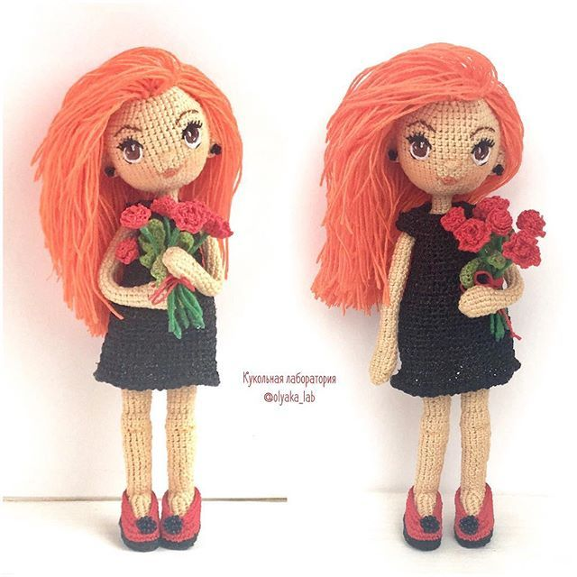 Amigurumi doll with red hair and a bouquet of roses by olyaka_lab.
