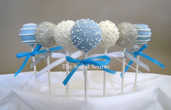 Light Blue, Silver Grey and White Cake Pops...Love these for a Nautical baby shower