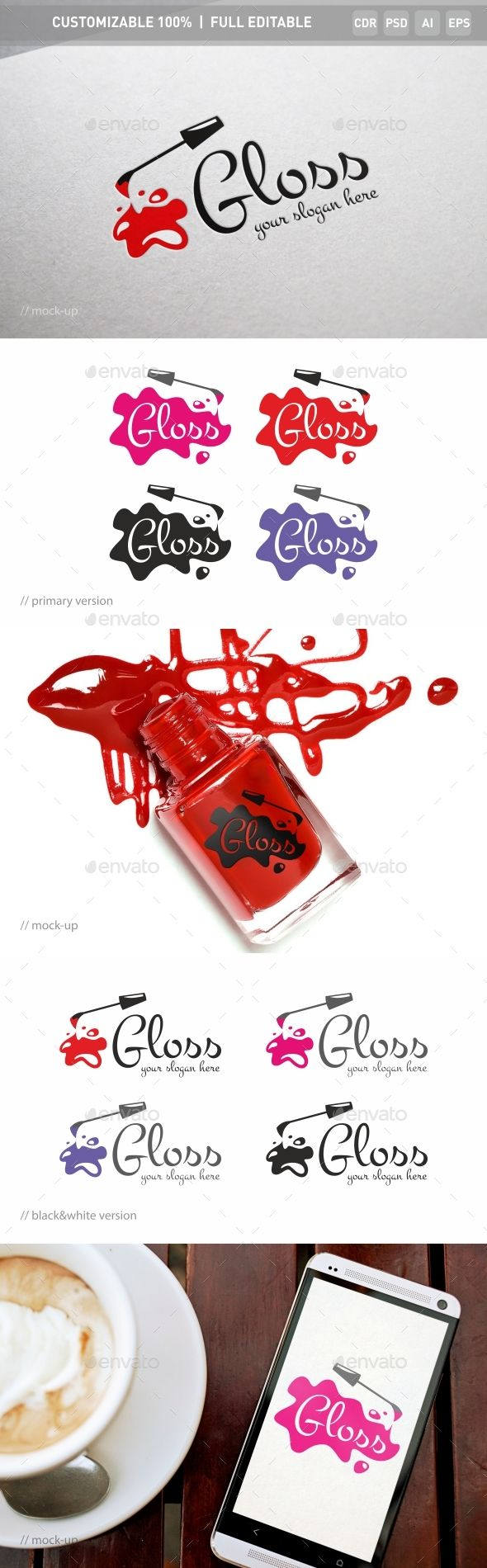 Gloss Nail Logo Template — Photoshop PSD #nail polish #woman • Available here → https://graphicriver.net/item/gloss-nail-logo-template/16876183?ref=pxcr