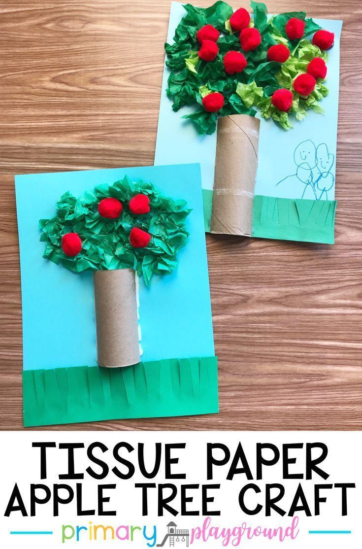 Tissue Paper Apple Tree Craft Primary Playground Modern Design Crafts