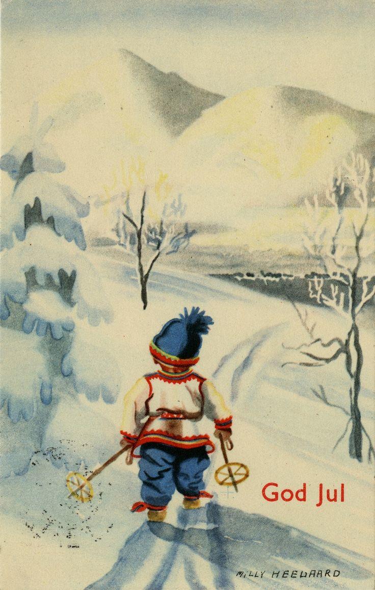 DigitaltMuseum - Postkort/julekort. Barn på ski. Motivet er tegnet av Milly Heegaard. Kortet er poststemplet 22.12.1939.