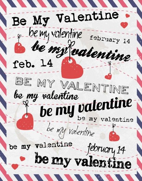 Free vector Valentines card with letter style #32600