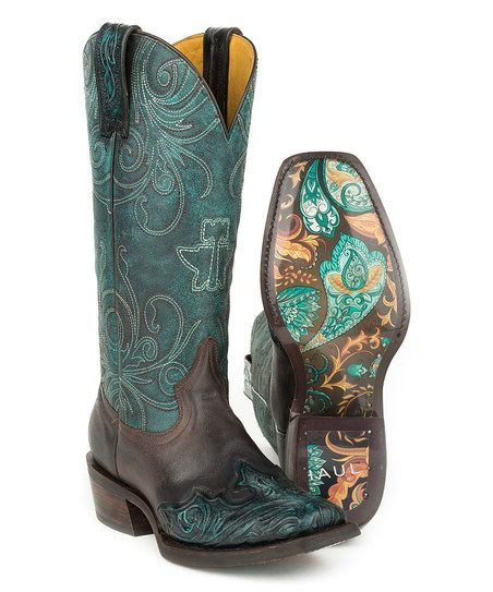 Tin Haul Blue My Blue Heaven Leather Cowboy Boot - Women | zulily