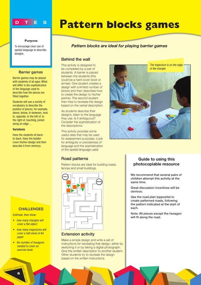 Developing Mathematics with Pattern Blocks - Paul Swan, Geoff White - Google Books