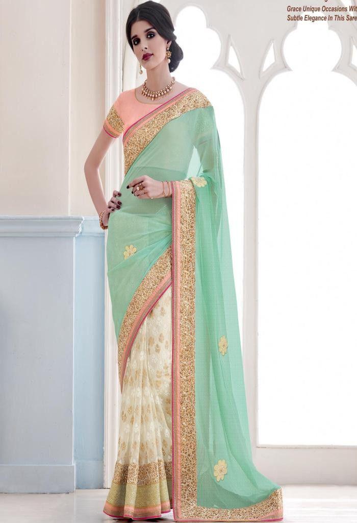 White Lycra Designer Saree 3921