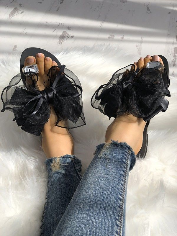 e2e88f63debea Fashion Cute Big Bow Tie Sandals Non Slip Flat Sandals
