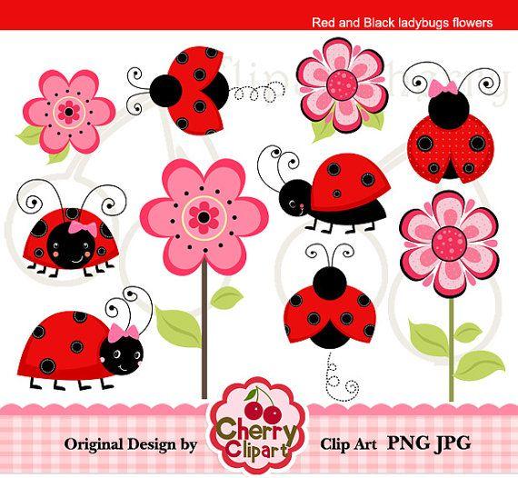 Gráfico digital rojo y negro mariquitas flores por Cherryclipart