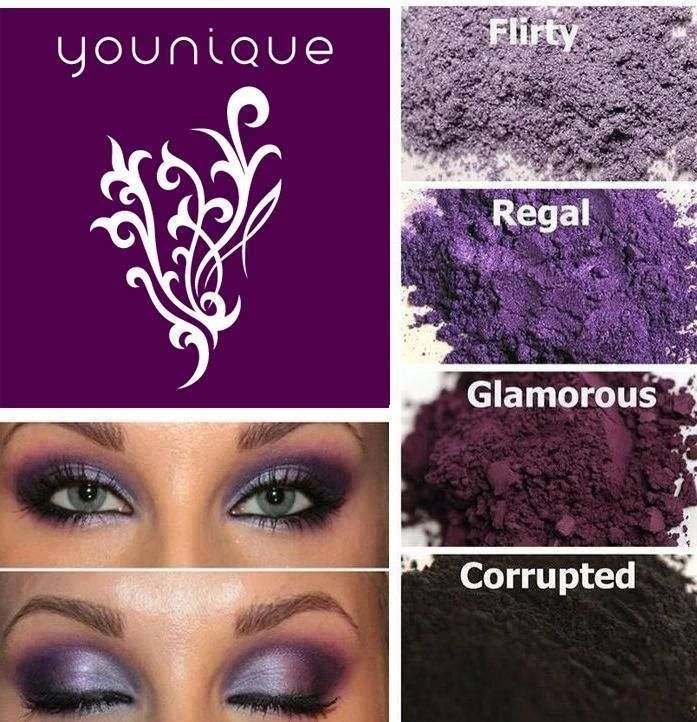 Love this look using Younique pigments. Such a pretty smokey eye look using our purple colors. Colors used to get this look are: Flirty, Regal, Glamorous and Corrupted. We have a love it guarantee so you can buy worry free. CLICK ON PIC https://www.youniqueproducts.com/hewalden