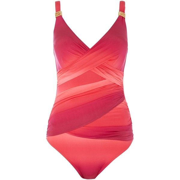 Biba Ombre Goddess Goddess Tummy Control Swimsuit ($27) ❤ liked on Polyvore featuring swimwear, one-piece swimsuits, hot coral, women, tummy control swimwear, print swimsuit, one piece swimsuit, swim suits and slimming swimsuits