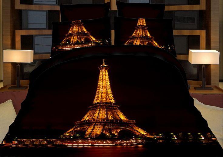 Černé ložní povlečení noční Eiffelovka