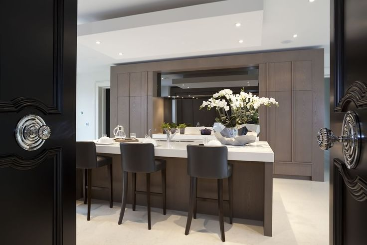 taupe contemporary kitchen with breakfast bar || Panache | Kitchens