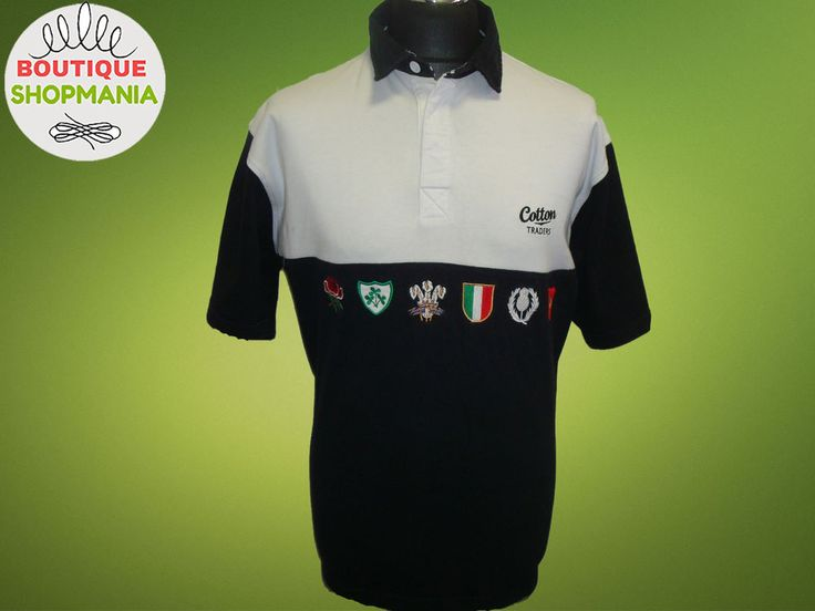 SIX 6 NATIONS Cotton Traders (XL) Rugby Union Shirt Black White #CottonTraiders