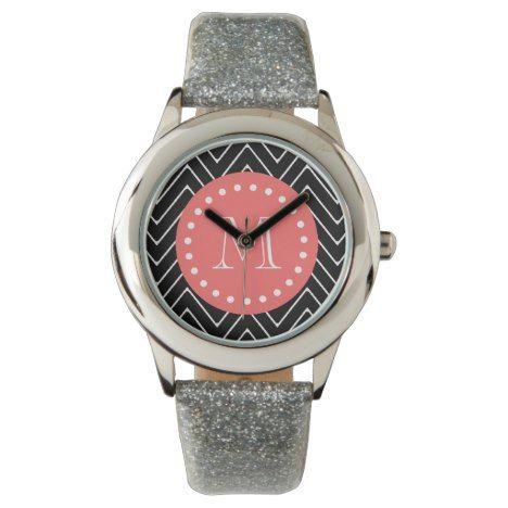Black and Coral Chevron with Custom Monogram Watch