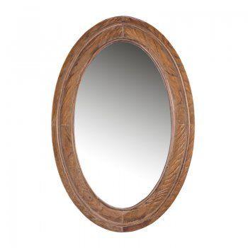 Ovale spiegel hout Stek Eura