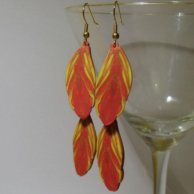 Firebird Feather Earrings