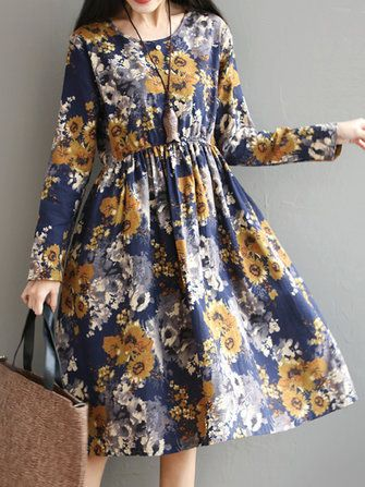Only US$28.21 , shop Retro Women Long Sleeve High Waist Floral Printed Swing Dresses at Banggood.com. Buy fashion Floral Dresses online.
