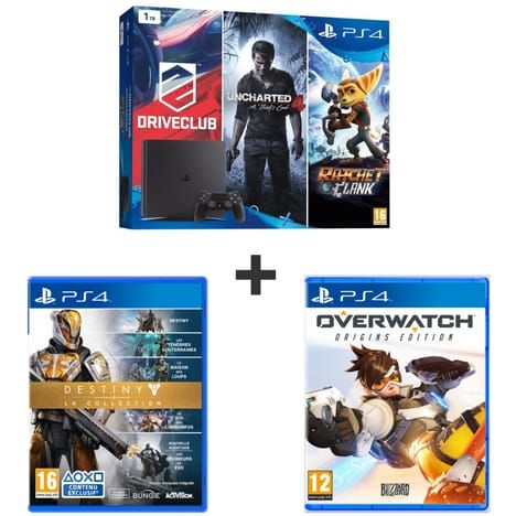 Pack Promo Family PS4 1To   5 Jeux (DriveClub, Uncharted 4, Rachet